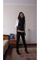 black Christian Louboutin shoes - black Only vest - banana republic blouse