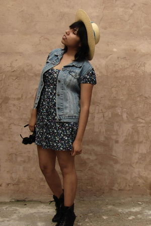 black Forever 21 boots - blue Forever 21 dress - beige souvenir hat - DIY vest
