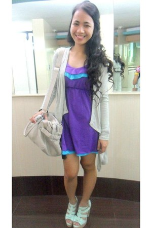 pastels Jellybean heels - cotton dress - Adore bag - gray H&M cardigan
