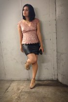 light pink lace ann taylor top - black vintage skirt