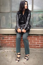black contrast sleeve DKNY jacket - black moto Besso bag