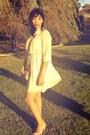 Nude-chiffon-dress-gold-clutch-bag-nude-peeptoes-heels