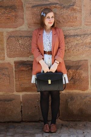 coral H&amp;M blazer - black Urban Outfitters bag - light blue modcloth skirt - whit