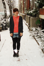 Gray-bdg-cardigan-orange-vintage-blouse-white-warehouse-t-shirt-blue-only-