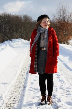 red wool H&M coat - tawny Akira boots - dark green Silence & Noise blazer