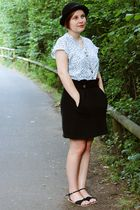 black fredflare skirt - white vintage blouse - black H&M shoes - black H&M hat -