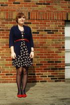 blue H&M dress - blue Charlotte Russe cardigan - red vintage belt - red kimchi &