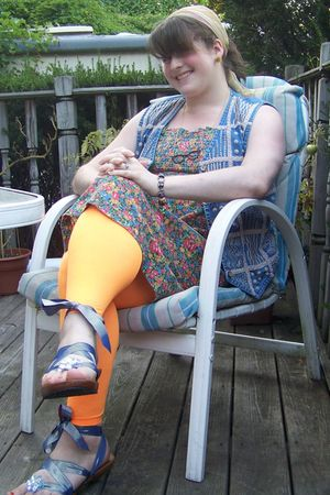 blue dress - thrifted vest - orange from dollar store tights - blue Mohop shorts