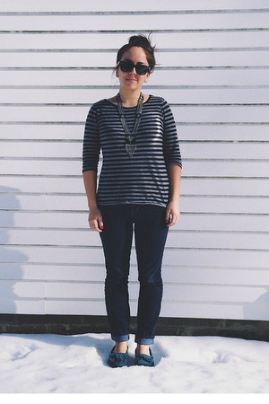 charcoal gray Target top - teal Minnetonka shoes - navy Gap jeans