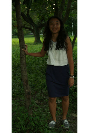 from ukay blouse - BDG skirt - Keds shoes