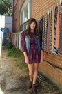 Dark-brown-secondhand-boots-deep-purple-floral-urban-outfitters-dress