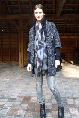 dark gray scotch and soda coat - black Topshop boots - heather gray Zara jeans