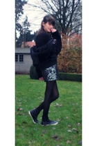 black Guess Kids coat - black H&M t-shirt - black tights - gray H&M skirt - blac
