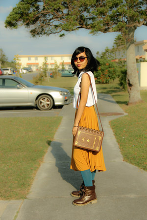 orange misty skirt - turquoise blue Forever 21 tights - white Topshop top