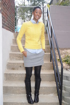 yellow rugby sweater - blue Rubgy shirt - gray Jcrew skirt - black Lucky Brand b