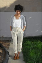 gray Zara cardigan - white Forever 21 blouse - beige H&M pants - brown Minnetonk