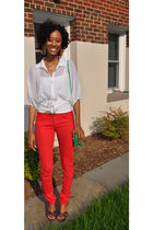 white free people blouse - red CASSETTE jeans - brown BCBG shoes - green Rachel