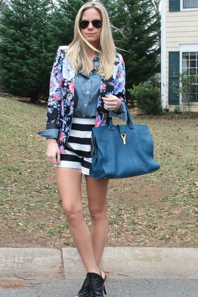 leather YSL bag - floral asos blazer - chambray Old Navy shirt