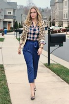 chain JAMI bracelet - plaid Old Navy shirt - silk Forever 21 pants
