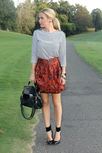 jacquard asos skirt - pantent leather Donald J Pliner heels