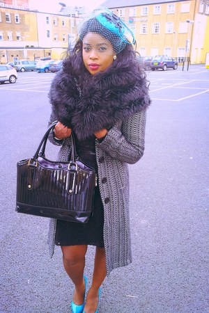 H&M dress - vintage coat - custom made hat - ted baker bag - Aldo heels