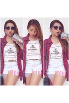 red etam shirt - white Forever 21 shorts - navy Dolce & Gabbana glasses