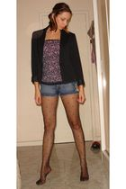 silver BIJU accessories - black f21 top - blue Forever 21 shorts - black Renner