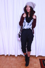 H&M hat - American Apparel hoodie - American Apparel blouse - BCBG pants