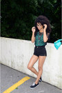 black American Apparel shirt - aquamarine American Apparel purse