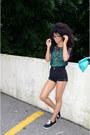 black American Apparel shirt - aquamarine American Apparel purse