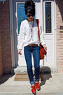 Navy-garage-jeans-red-jlo-heels-eggshell-american-apparel-jumper