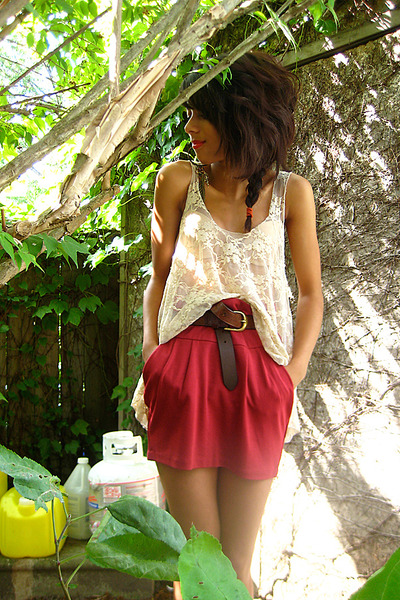 beige Forever21 shirt - red Costa Blanca skirt