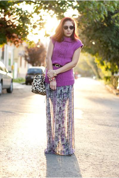 deep purple BAD style skirt - magenta mauve knit Pimkie sweater - tan Mango bag