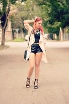 PERSUNMALL jacket - PERSUNMALL bag - Choies shorts - Choies heels