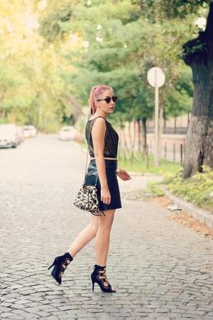 leather BADstyle skirt - Mango bag - Choies heels - romwe top