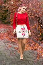 romwe skirt - Choies bag - romwe jumper