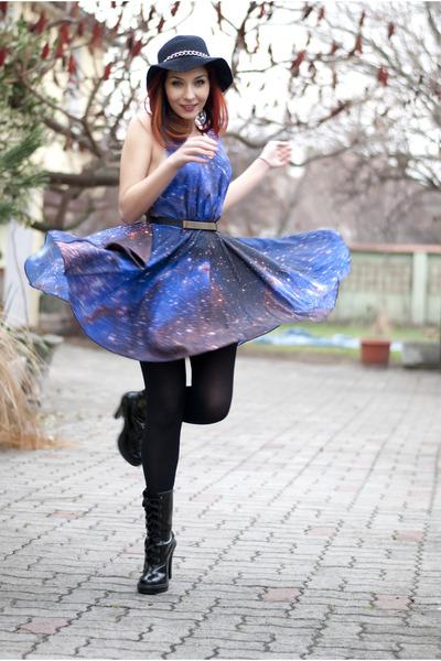 patent leather Mango boots - galaxy print romwe dress - DIY hat