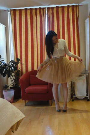 nude tutu Forever 21 skirt - neutral two toned Zara heels