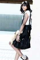 black leather vintage skirt - ikat julian louie for Aldo wedges