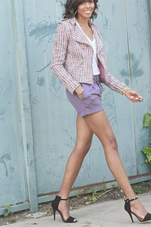 Torn by Ronny Kobo jacket - violet trouser short Forever 21 shorts