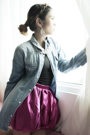 magenta pumpkin DIY skirt - Pink Manila top - aztec earrings Forever 21 earrings