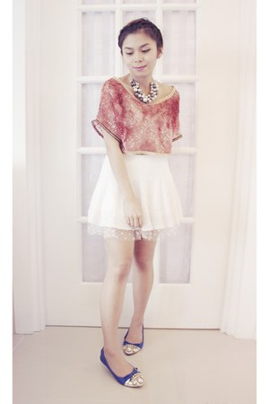 salmon crochet DIY top - white lace tulle vintage skirt