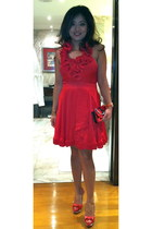 red sandals - red Bebe dress - red christian dior bag
