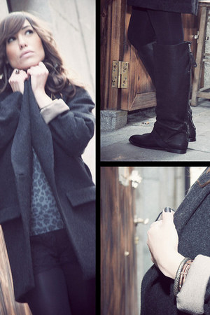 black sira ryf boots - dark gray sira ryf coat - black Zara shorts