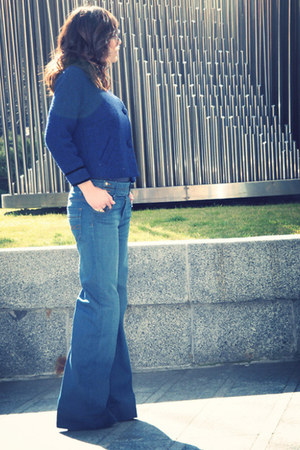 navy flare jeans Zara jeans - navy rules by mary jacket