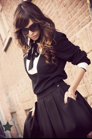 black Zara boots - black Pote dress - black Mango sunglasses - black Zara skirt