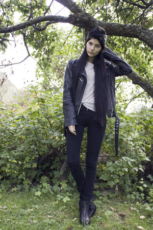 black Selected Femme boots - black Diesel jeans - black Object jacket