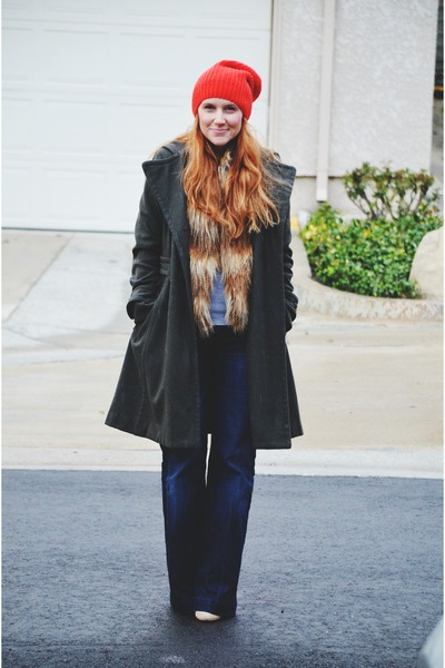 army green wool coat - navy 7 for all mankind jeans