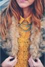 Coral-vintage-skirt-dark-brown-coat-mustard-lace-blouse