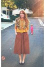 Coral-vintage-skirt-dark-brown-coat-mustard-lace-blouse